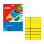 Этикетки цветные Apli 1591, 70x37мм, 480шт, желтые