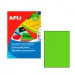 Этикетки цветные Apli 2881, 210х297мм, 20шт, зеленые флюорисцентные