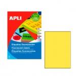 Этикетки цветные Apli 2878, 210х297мм, 20шт, желтые флюорисцентные