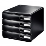 Бокс для бумаг Leitz Allura 275x245x345мм, 4 ящика, черный, 52060095