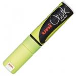 Маркер меловой Uni Chalk PWE-8K, 8мм, скошенный наконечник, для окон и стекла, флуор-желтый