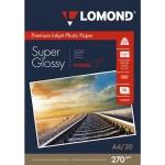 Фотобумага для струйных принтеров Lomond А4, 20 листов, 270 г/м2, суперглянцевая, 1106101