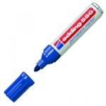 Маркер перманентный Edding 550 синий, 3-4мм, круглый наконечник, универсальный, заправляемый