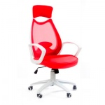Кресло руководителя Chairman 840 ткань, красная, крестовина пластик, белая