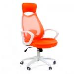 Кресло руководителя Chairman 840 ткань, крестовина пластик, белая, оранжевое