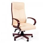 Кресло руководителя Chairman 411 иск. кожа, крестовина дерево, бежевое
