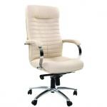 Кресло руководителя Chairman 480 иск. кожа, бежевая, крестовина хром