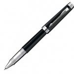 Ручка-роллер Parker Premier Lacque T560 F, черная, черный/серебристый корпус