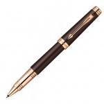 Ручка-роллер Parker Premier Lacque T560, F, черная, коричневый/золотой корпус