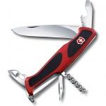 Нож перочинный 130мм Victorinox RangerGrip 68 0.9553.C, 11 функций, 2 уровня, красно-черный