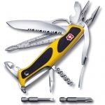 Нож перочинный 130мм Victorinox RangerGrip Boatsman 0.9798.MWC8, 21 функция, 4 уровня, желто-черный