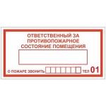 Знак Ответственный за противопожарное состояние помещения Гасзнак 200х200мм, самоклеящаяся пленка ПВХ, 10шт/уп, DP01