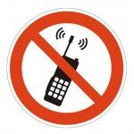 Знак Запрещающий пользоваться мобильным телефоном Гасзнак 200х200мм, самоклеящаяся пленка ПВХ, P18