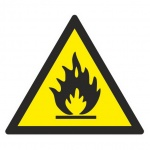 Знак Пожароопасно Гасзнак 200х200мм, самоклеящаяся пленка ПВХ, W01