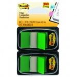 Клейкие закладки пластиковые Post-It Professional зеленый, 25х38мм, 2х50 листов, в диспенсере, 680-G