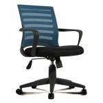 Кресло офисное Brabix Carbon MG-303 ткань, черная, крестовина пластик, черно-голубое