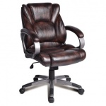 Кресло руководителя Brabix Eldorado EX-504 иск. кожа, коричневая, крестовина пластик