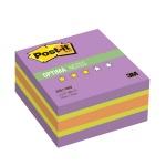 Блок для записей с клейким краем Post-It Optima, 3 цвета неон, 400 листов, фиолетовый неон радуга