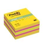 Блок для записей с клейким краем Post-It Optima, 3 цвета неон, 400 листов, желтый неон радуга