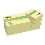 Блок для записей с клейким краем Post-It Optima канареечный желтый, пастельный, 38х51мм, 12х100 листов, 653-OY