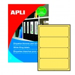 Этикетки для папок Apli 1374, 190х61мм, 80шт, желтые