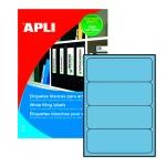 Этикетки для папок Apli 1375, 190х61мм, 80шт, голубые
