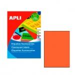 Этикетки цветные Apli 11748, 210х297мм, 100шт, оранжевые флюорисцентные