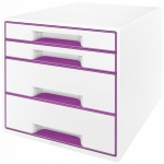 Бокс для бумаг Leitz Wow 287x270x363мм, 4 ящика, бело-фиолетовый, 52131062