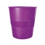 Корзина для бумаг Leitz WOW 15л, с держателем, фиолетовая