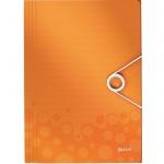 Пластиковая папка на резинке Leitz Wow, A4, до 150 листов, оранжевая