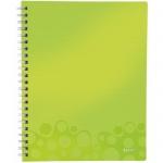 Блокнот Leitz Wow, А4, 80 листов, в клетку, на спирали, пластик, с разделителями, микроперфорация, зеленый