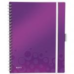 Блокнот Leitz Wow фиолетовый, А4, 80 листов, в клетку, на спирали, пластик, с папкой, с разделителями, микроперфорация, 46450062