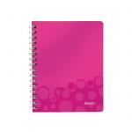 Тетрадь общая Leitz Wow, А5, 80 листов, в клетку, на спирали, пластик, розовый