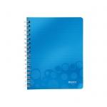 Тетрадь общая Leitz Wow синяя, А5, 80 листов, в клетку, на спирали, пластик
