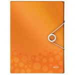 Пластиковая папка на резинке Leitz Wow, A4, до 250 листов, оранжевая