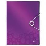 Пластиковая папка на резинке Leitz Wow фиолетовая, A4, до 250 листов, 46290062