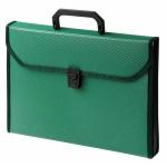 Портфель пластиковый Бюрократ зеленый, А4, 24 отделения, PP24TLgrn