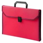 Портфель пластиковый Бюрократ красный, А4, 24 отделения, PP24TLred