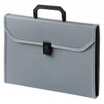 Портфель пластиковый Бюрократ серый, А4, 24 отделения, PP24TLgrey