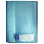 Папка файловая Бюрократ Crystal голубая, А4, на 60 файлов, CR60BLUE