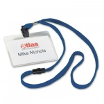 Бейдж на зажиме с тесьмой Durable 60х90мм, 44 см, 10 шт/уп, синий