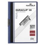 Пластиковая папка с клипом Durable Duraclip, А4, до 30 листов, синяя