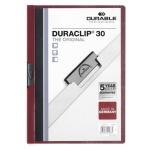 Пластиковая папка с клипом Durable Duraclip, А4, до 30 листов, темно-красная