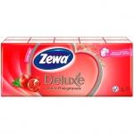 Носовые платки Zewa Deluxe 10уп х 10шт, 3 слоя, с ароматом граната