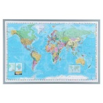Доска пробковая Naga Карта мира 90х60см, коричневая, алюминиевая рама, 90х60 см, пробка