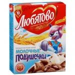 Готовый завтрак Любятово подушечки с молочной начинкой, 250г