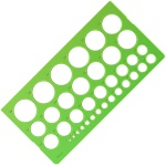 Линейка-трафарет Стамм, окружности от 1 до 36мм,зеленая, ТТ21
