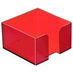 Подставка для бумажного блока Стамм ПЛ51 вишня, 9.5х9.5х5.2см, пластик, тонированная