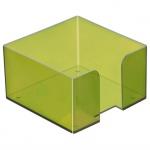 Подставка для бумажного блока Стамм ПЛ50 лайм, 9.5х9.5х5.2см, пластик, тонированная