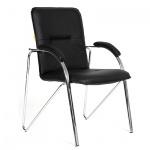 Кресло посетителя Chairman 850 иск. кожа, черная, terra 118, на ножках, собр.